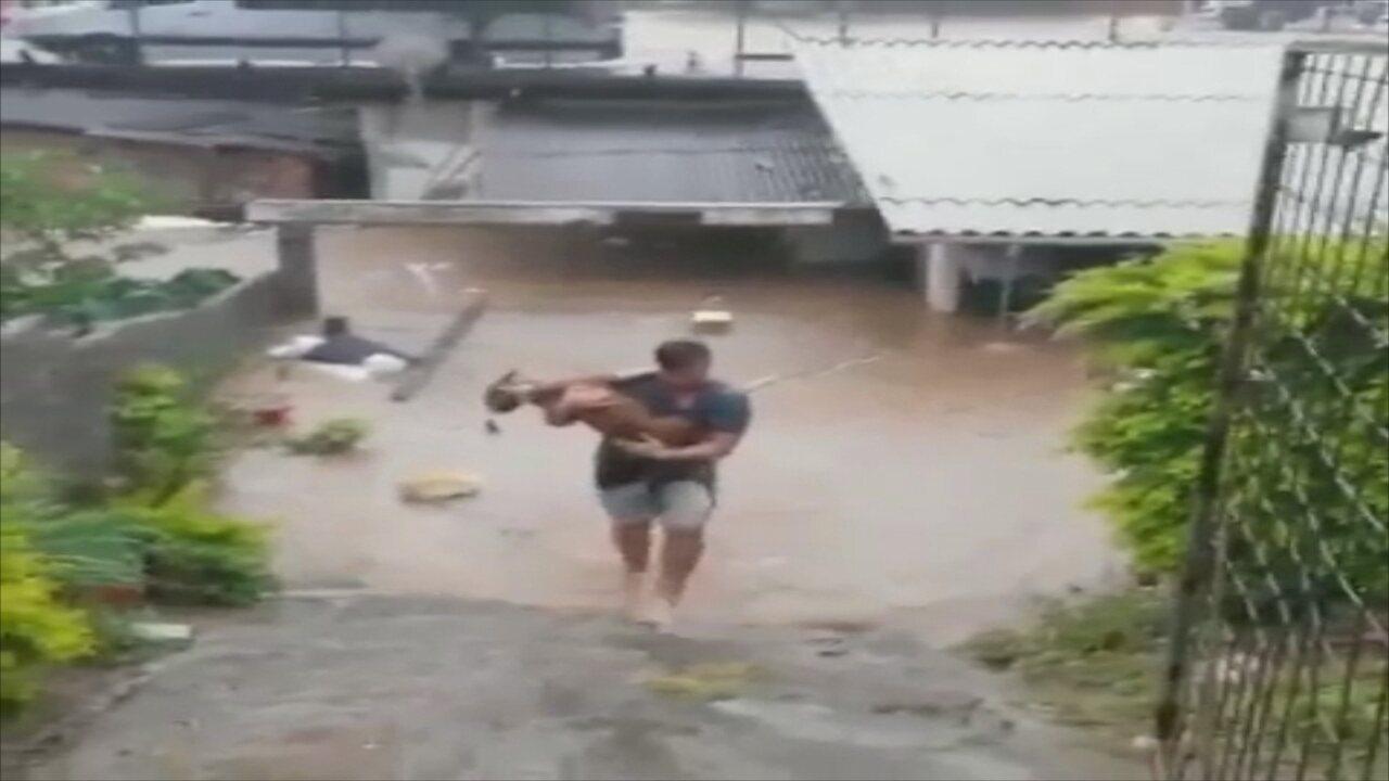 Vídeo mostra homem resgatando cão em meio à enchente em SC