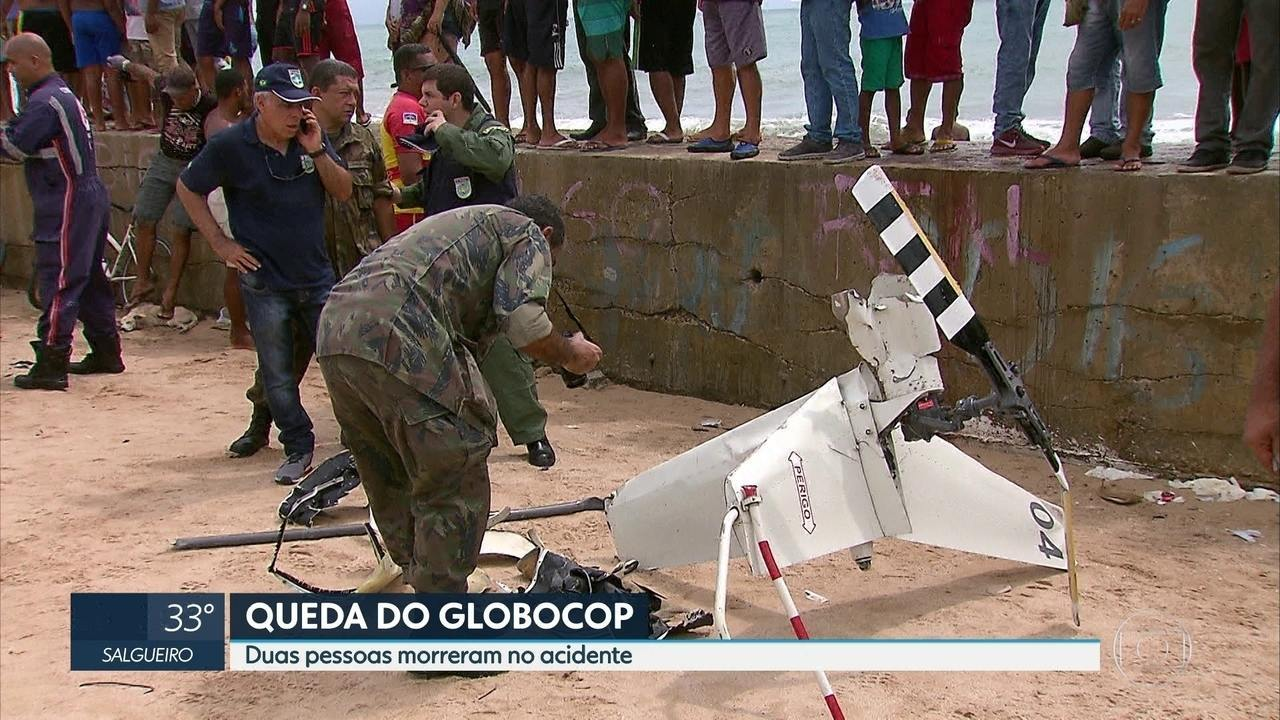 Polícias Federal, Civil e Aeronáutica investigam queda do Globocop no Recife
