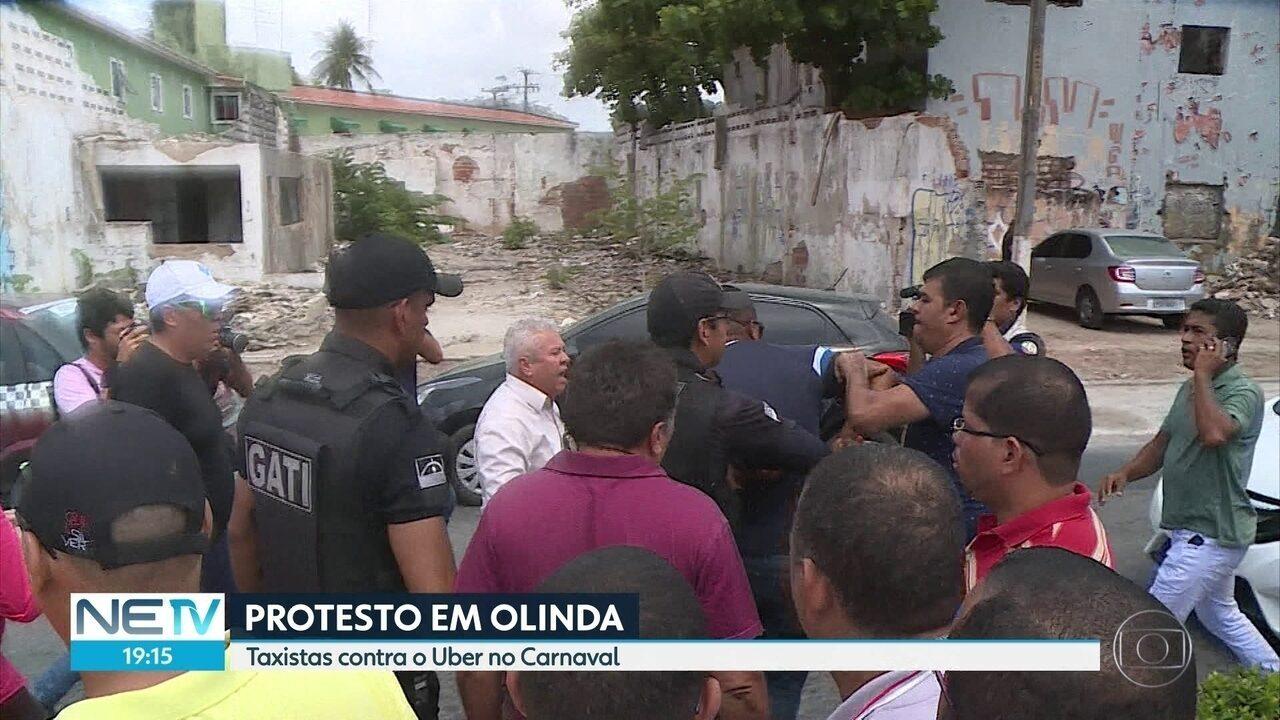 Protesto de taxistas em Olinda é marcado por confusão