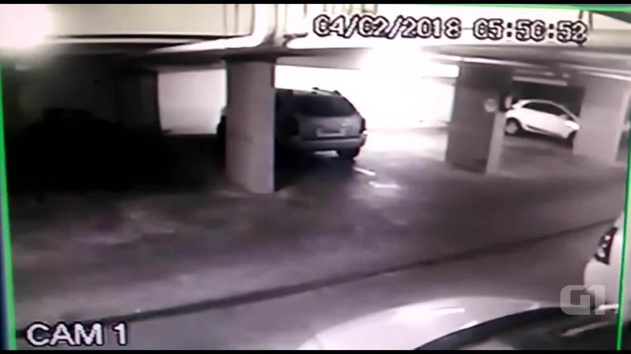 Câmera de segurança mostra momento em que laje desabou na garagem da 210 Norte