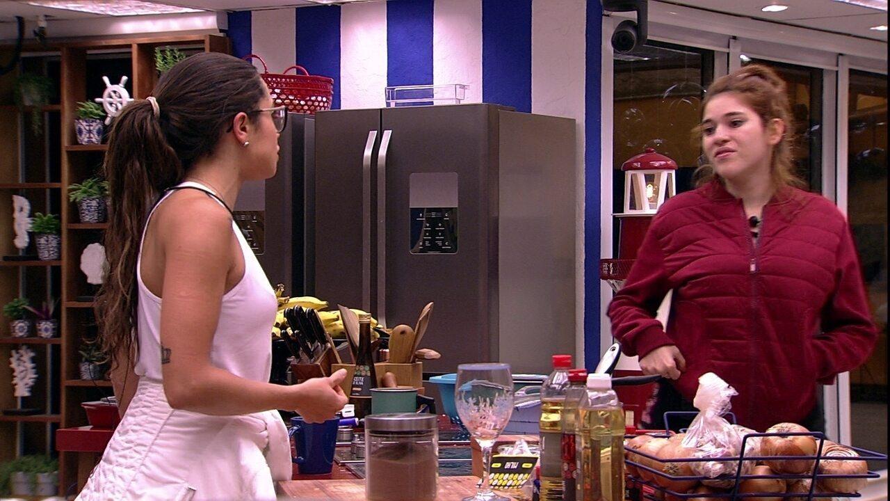 Paula desabafa com Ana Clara sobre veto de Lucas na Prova do Líder