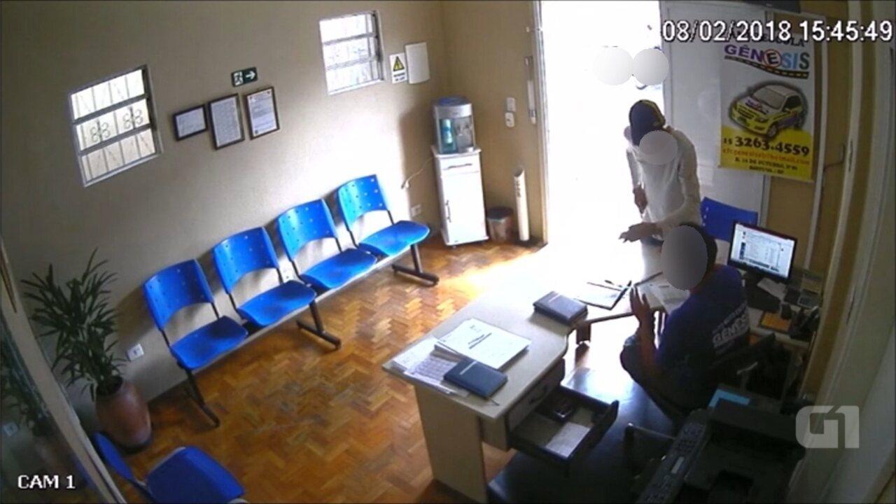 Câmera de monitoramento registra assalto em autoescola de Boituva