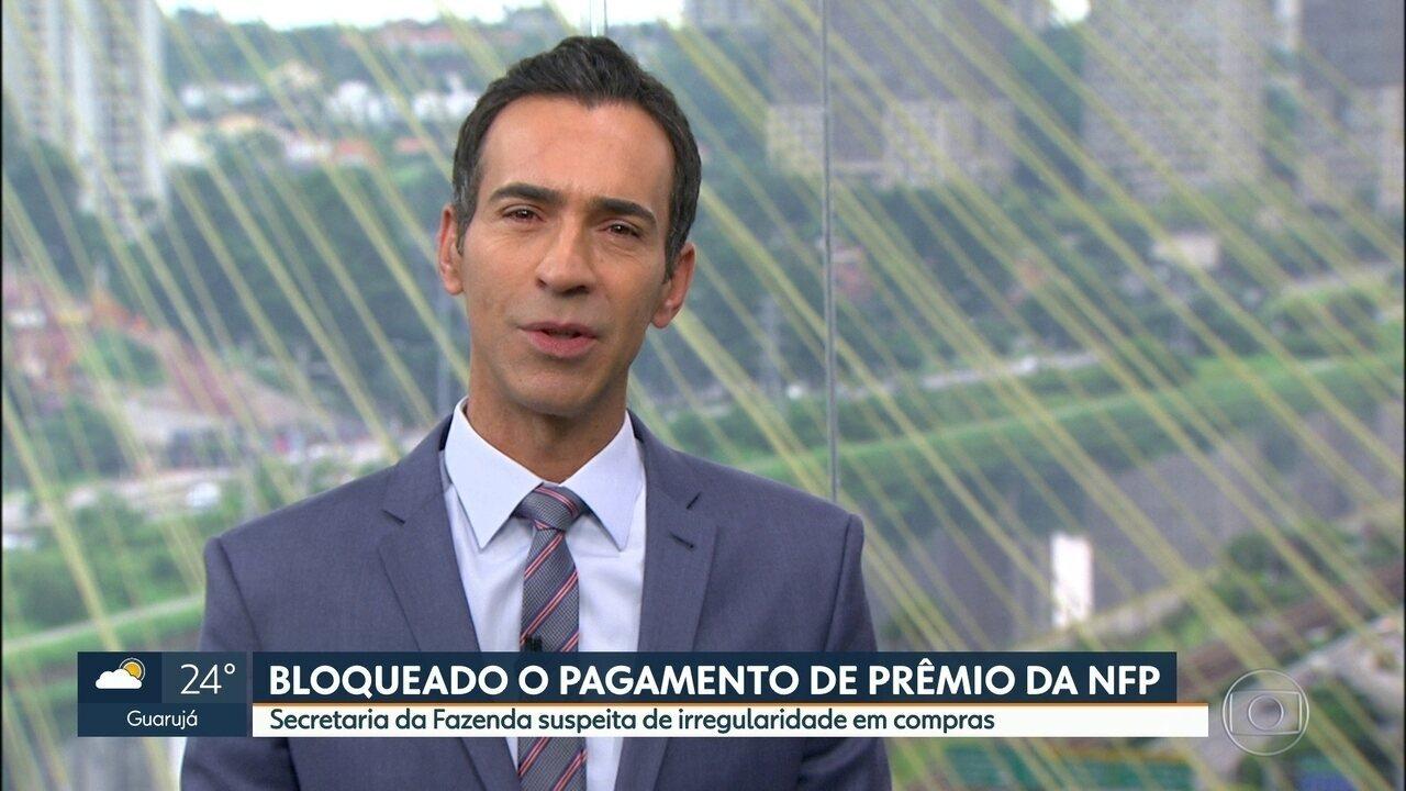 Bloqueado o pagamento do prêmio principal da Nota Fiscal Paulista