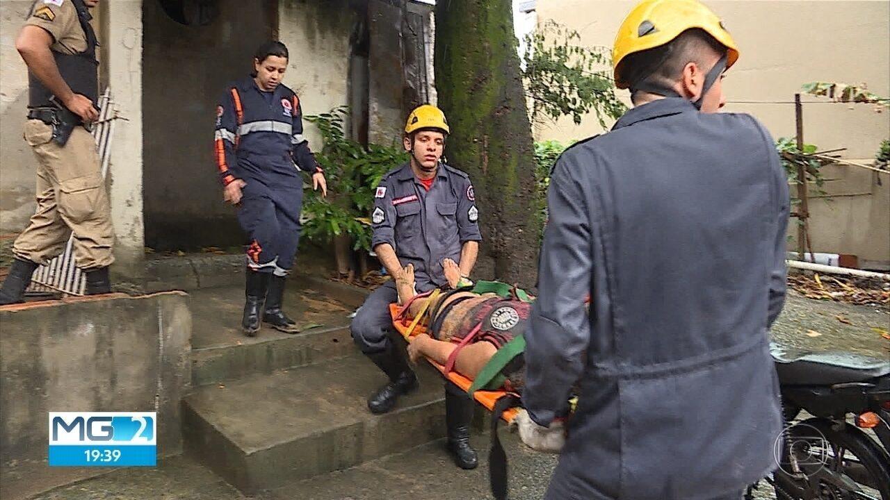 Muro desaba sobre casa durante temporal em BH e mata uma pessoa