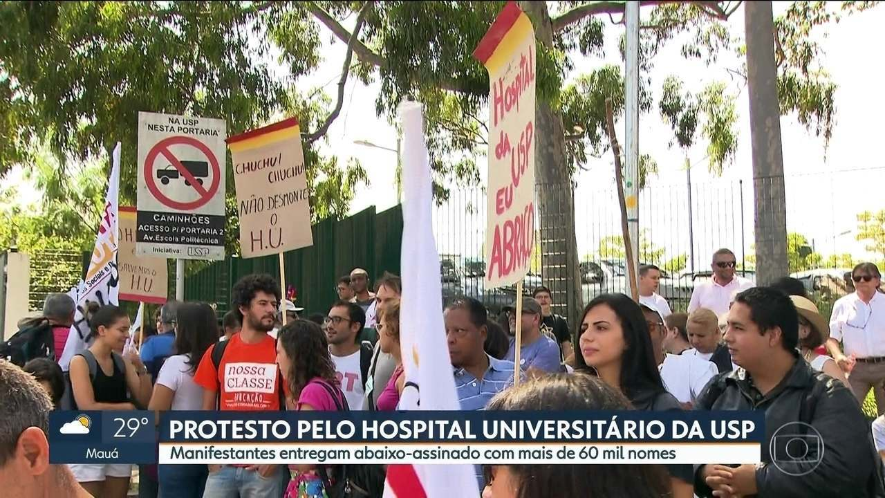 Manifestantes protestam contra condições do Hospital Universitário