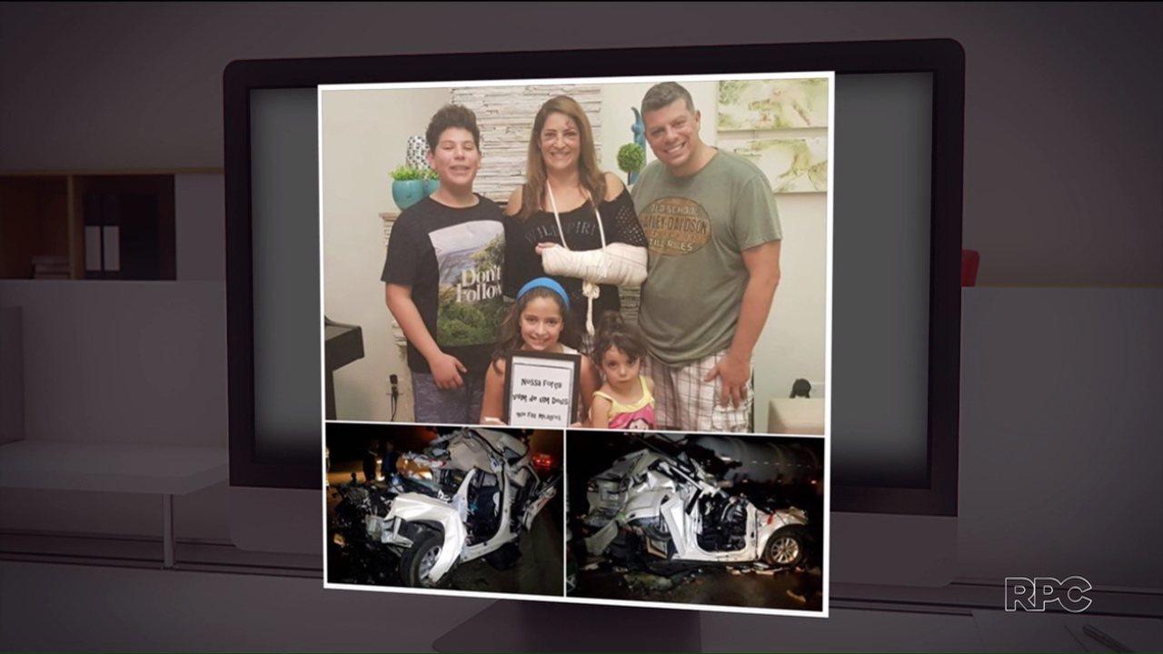 Cinco pessoas que estavam em carro prensado por dois caminhões relatam milagre