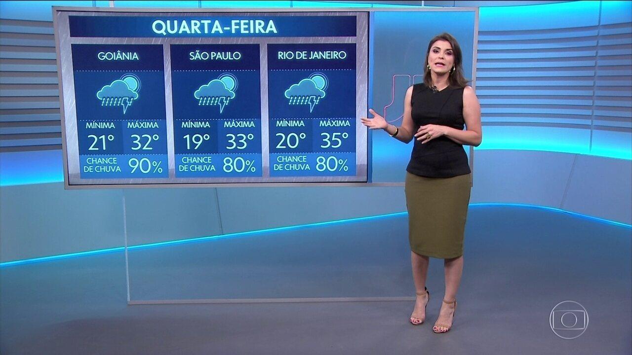Veja a previsão do tempo para o Brasil nessa quarta, 13