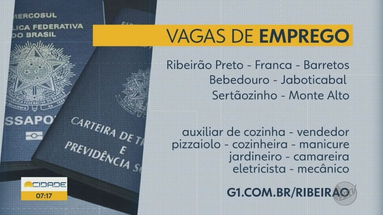 PATs e agências de emprego oferecem 124 vagas na região de Ribeirão ... 6833879c3e74c