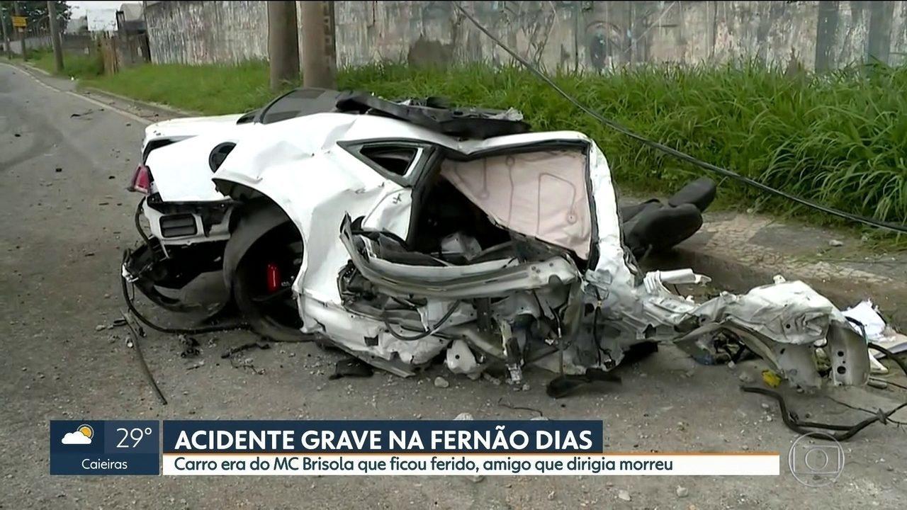 Acidente grave deixa Camaro de MC Brisola destruído em São Paulo