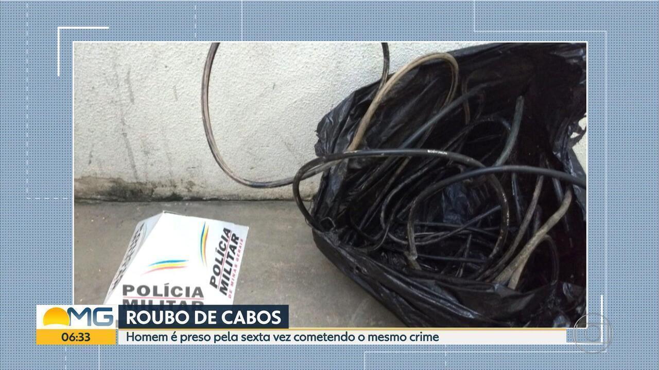 Após ser detido no fim de semana, suspeito de roubar cabos é preso novamente em BH