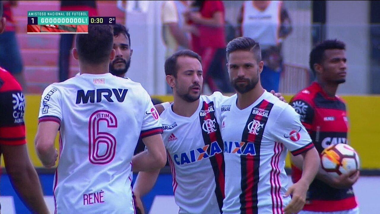 Os gols de Atlético-GO 1 x 3 Flamengo em amistoso nacional