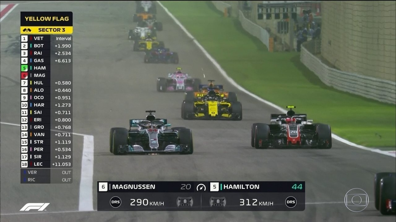 Hamilton ultrapassa Magnussen e assume a quinta posição