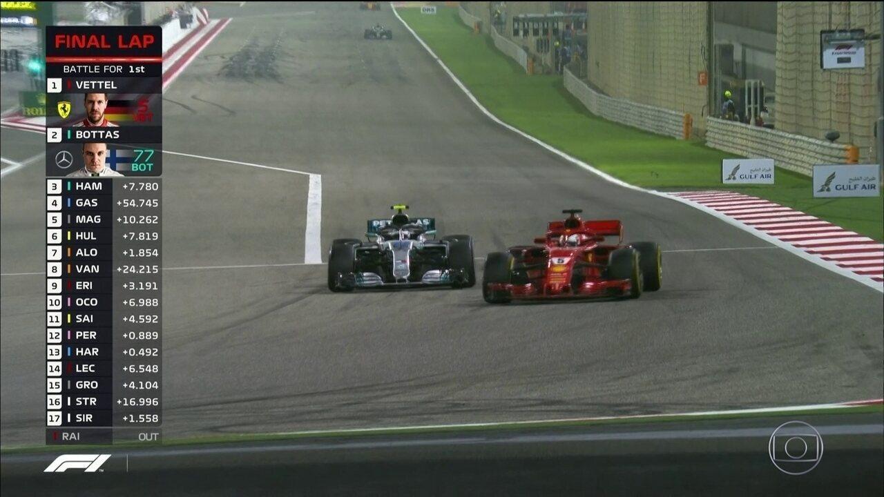 Vettel se defende bem de Bottas e segue em primeiro