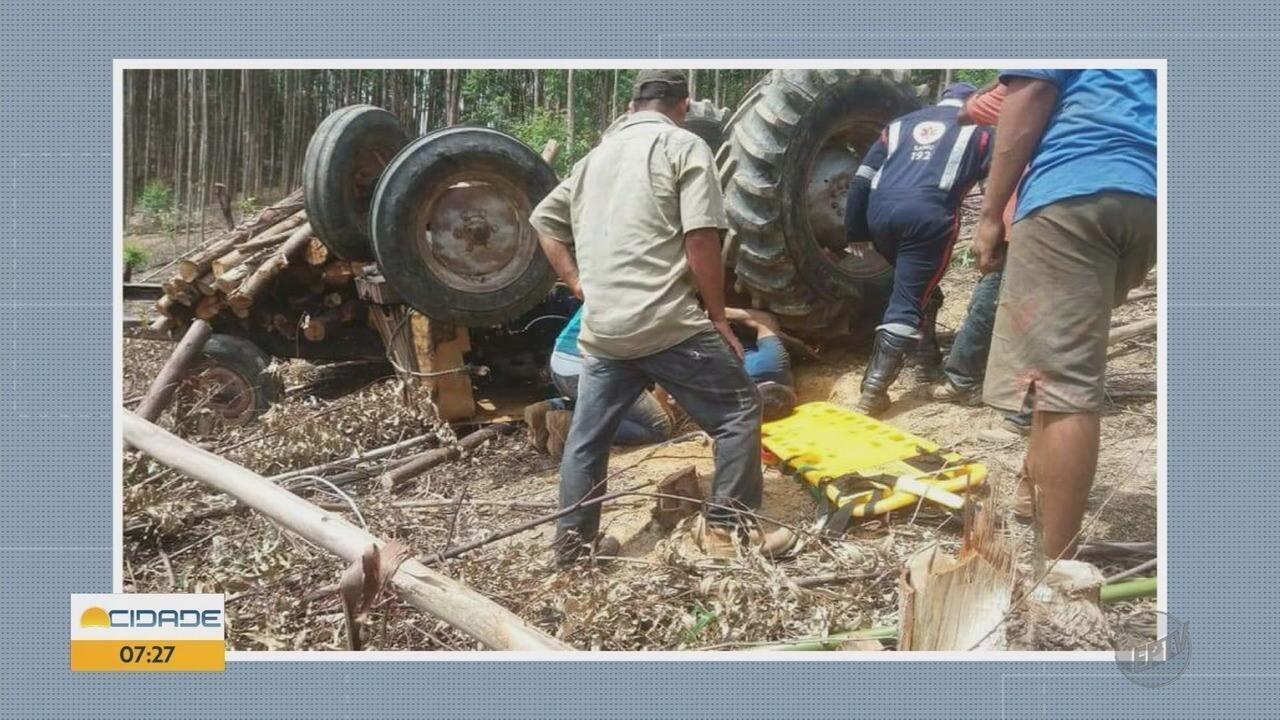 Trabalhador rural fica ferido em acidente com trator na zona rural de Carmo do Rio Claro