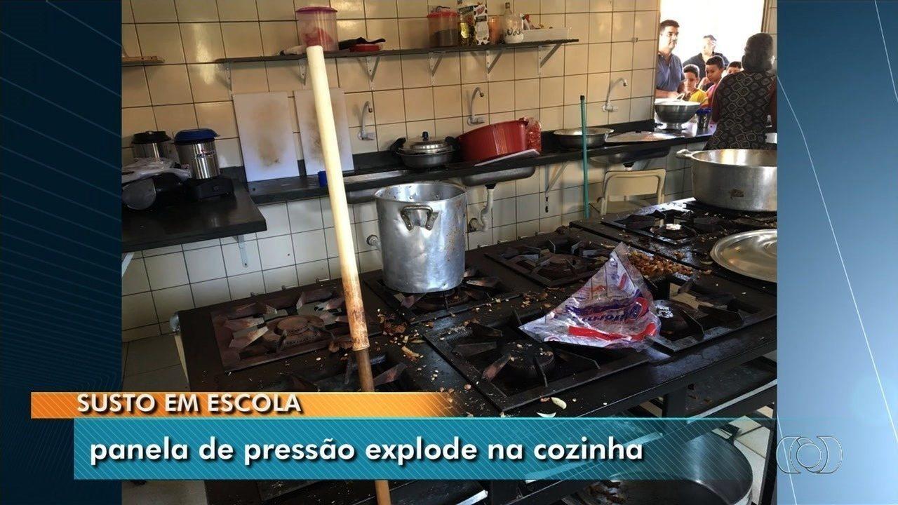 Panela de pressão explode dentro de escola e fere merendeiras, em Aparecida de Goiânia