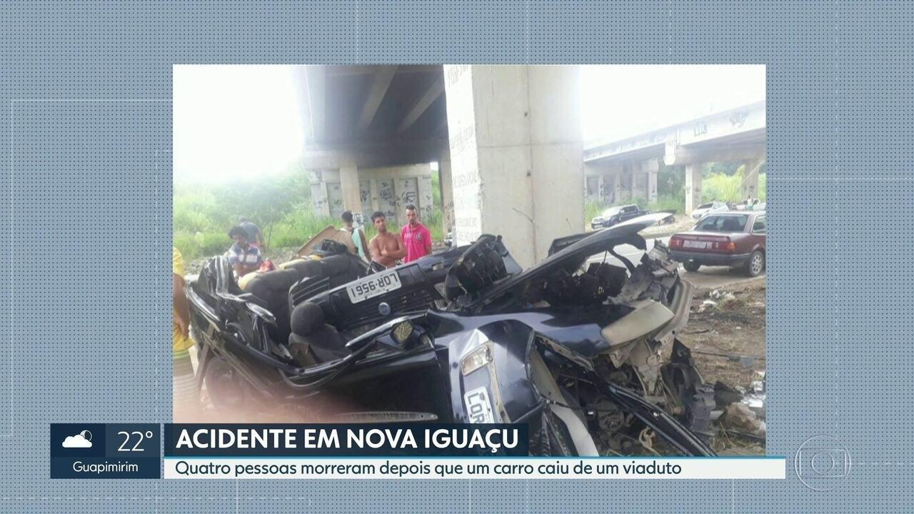 Quatro pessoas morrem após carro despencar de viaduto em Nova Iguaçu