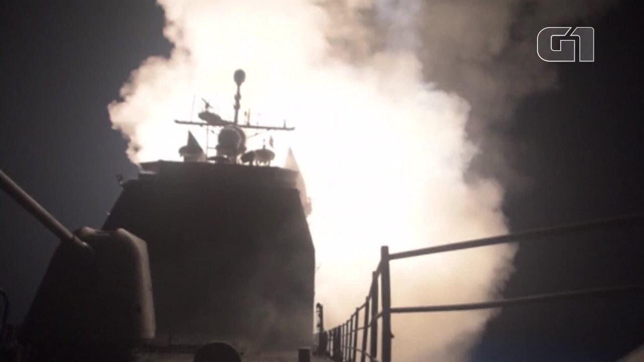 EUA divulgam vídeo com imagens do lançamento de mísseis na Síria