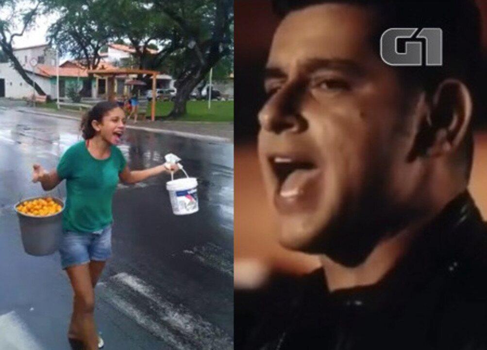 Vendedora de cajá vira meme com sucesso de Léo Magalhães (Reprodução / Teresina Comedy News)
