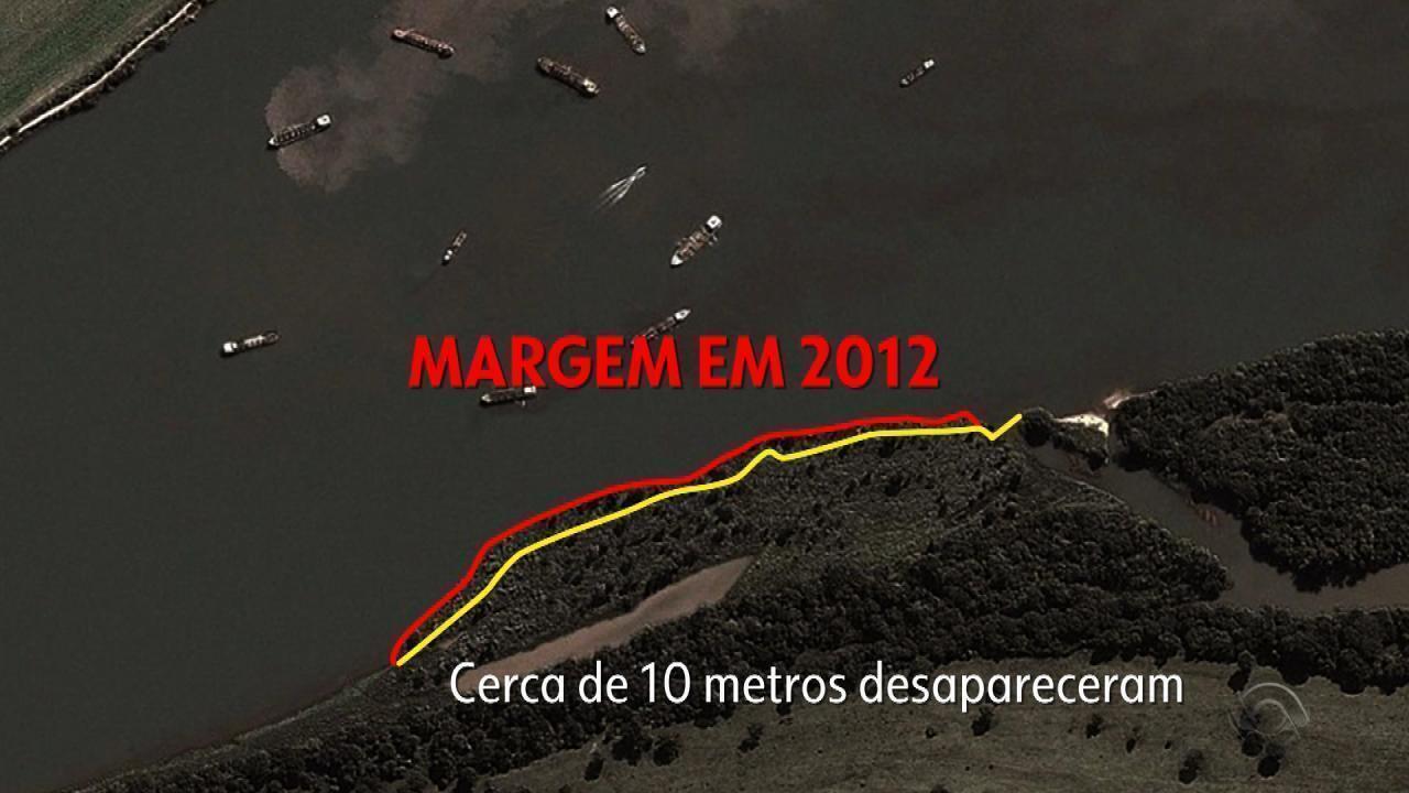 Embarcações burlam monitoramento por GPS para extrair areia irregular no Rio Jacuí