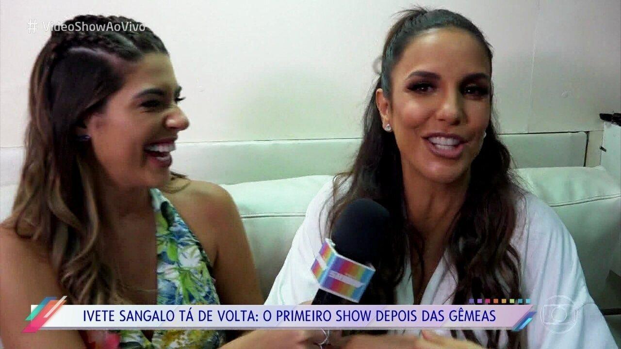 Como repórter do 'Vídeo Show', Vivian Amorim acompanha volta de Ivete Sangalo aos palcos