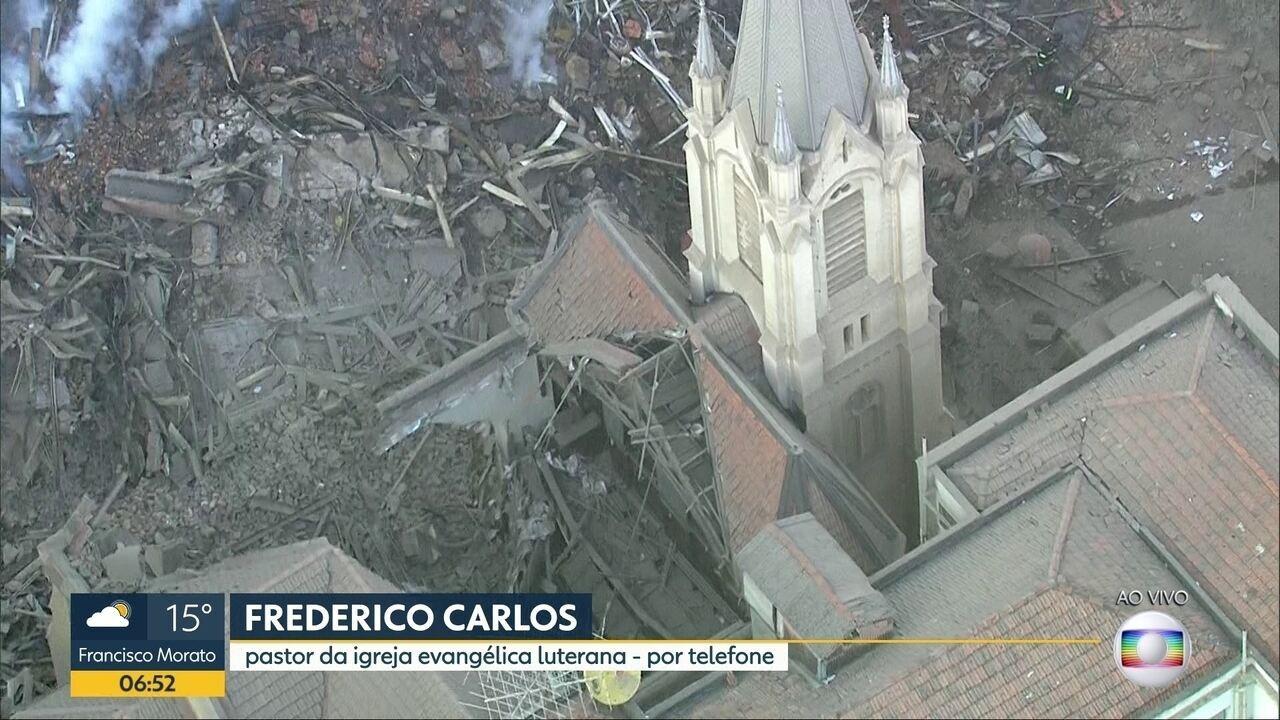 """""""Praticamente sobrou o altar e a torre da igreja"""", diz pastor sobre desabamento em SP"""