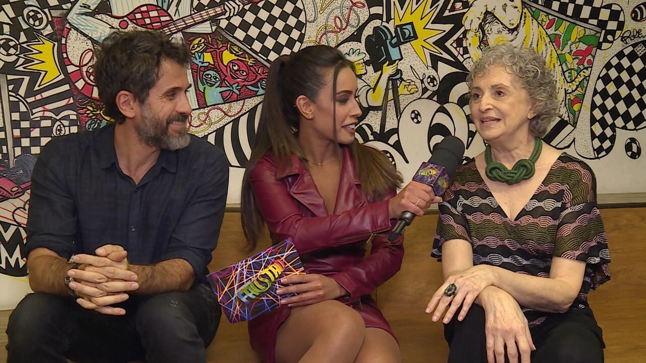 Ana Lucia Torre e Eriberto Leão conversam nos bastidores do 'Ding Dong'