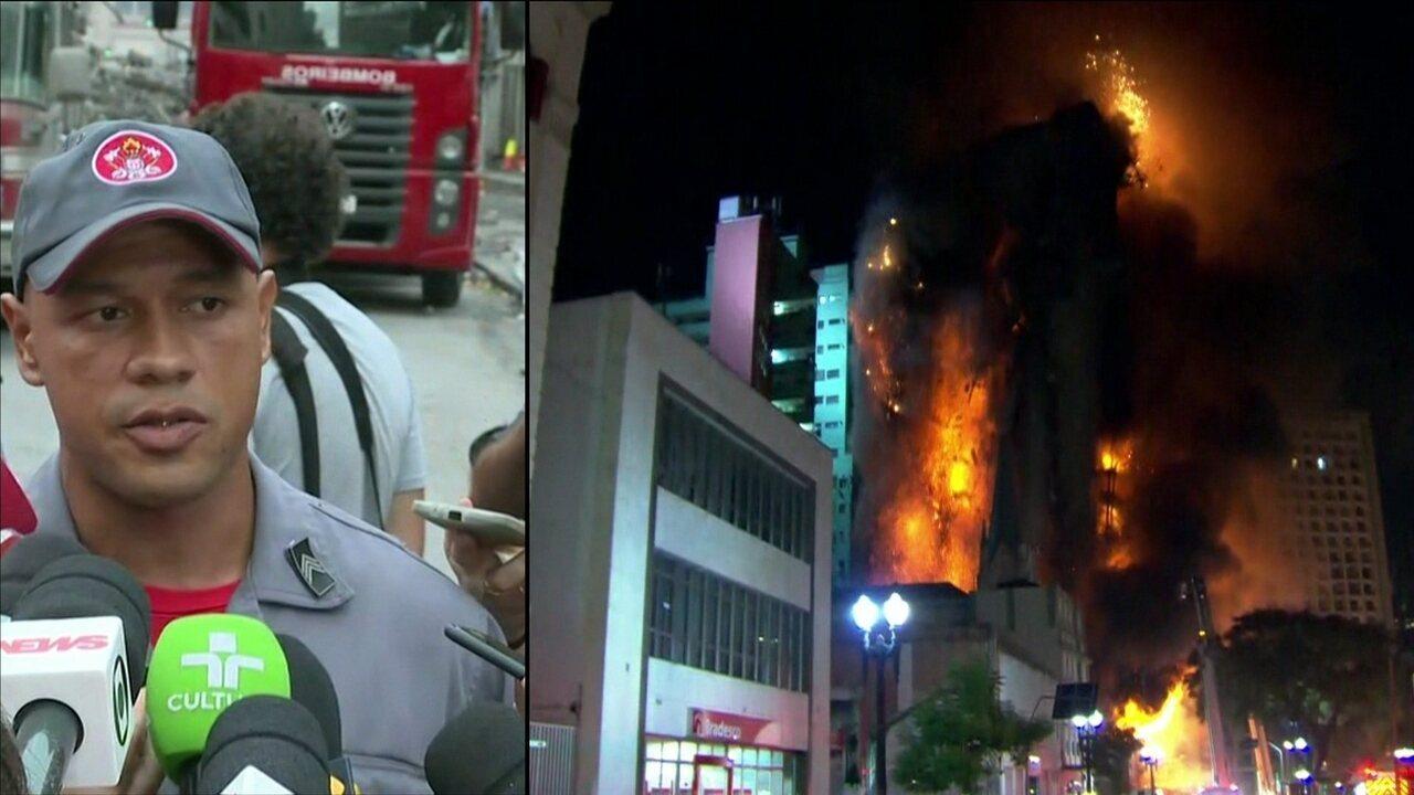 Bombeiro narra tentativa de resgate antes de desabamento de prédio em São Paulo