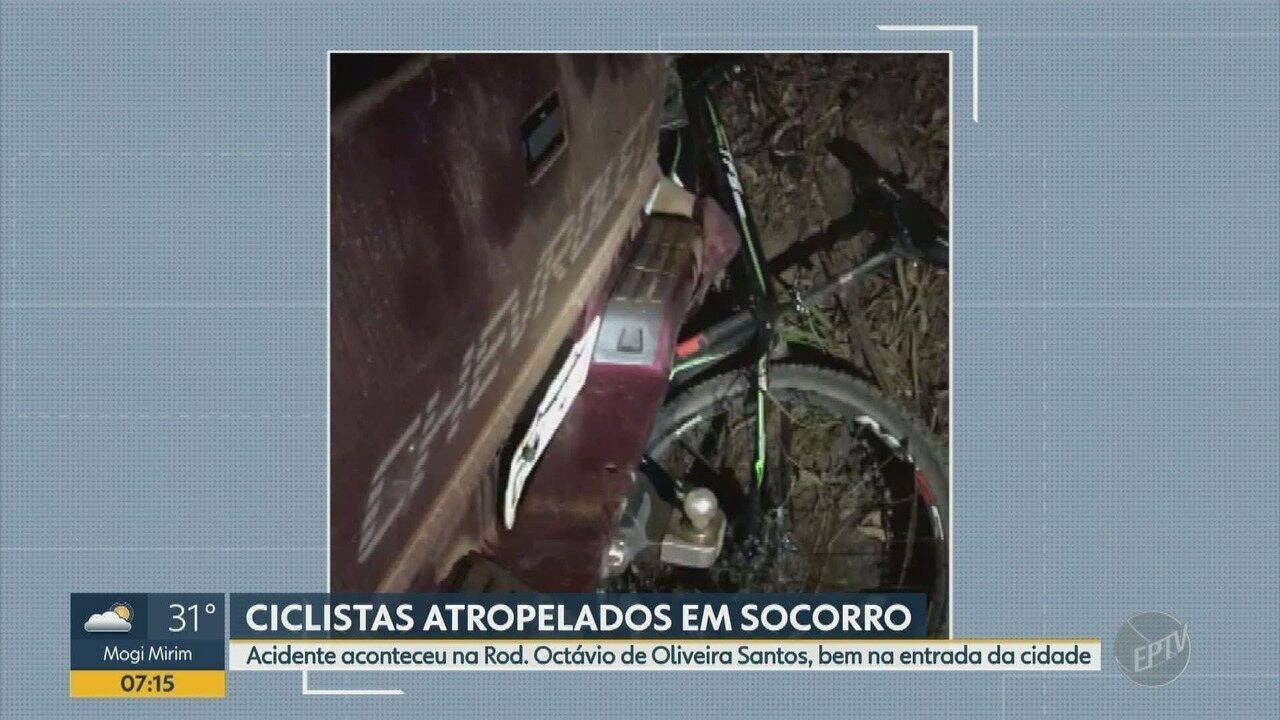 Ao menos dois ficam feridos em acidente em Socorro; ciclistas foram atingidos
