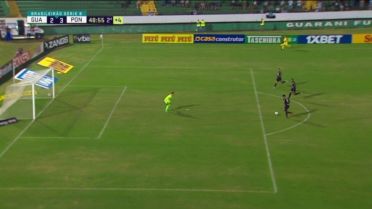 Ponte tem contra-ataque de três contra goleiro, mas Felippe Cardoso perde aos 49 do 2º