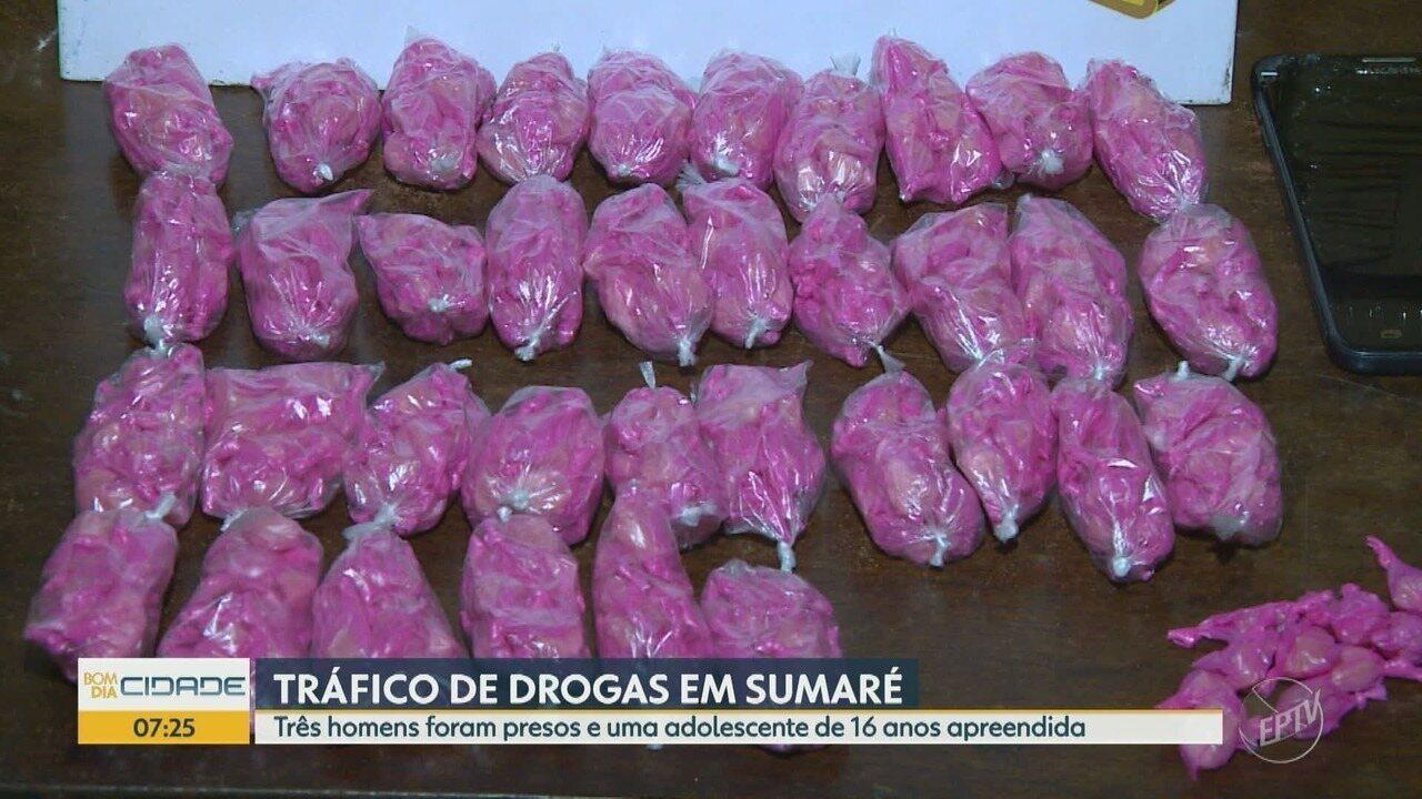 Três adultos e uma adolescente foram flagrados por tráfico de drogas em Sumaré