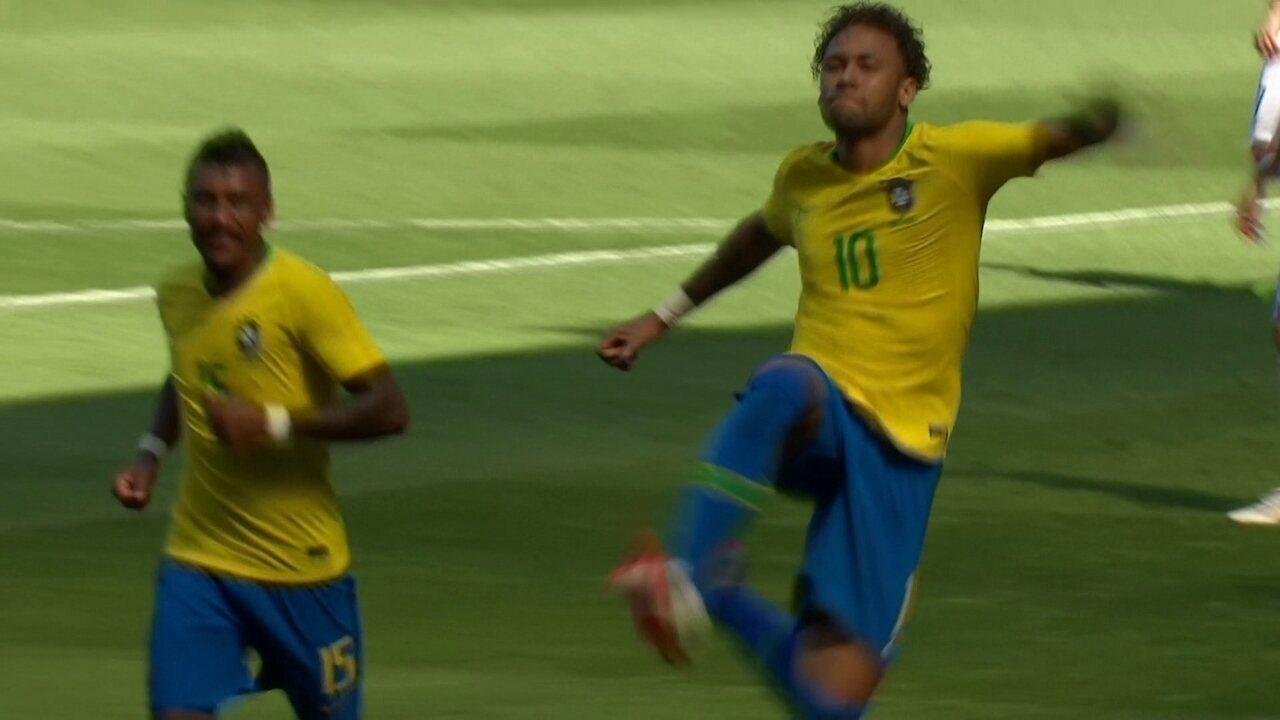 Gol do Brasil! Neymar invade a área, dribla dois e fuzila pra abrir o placar
