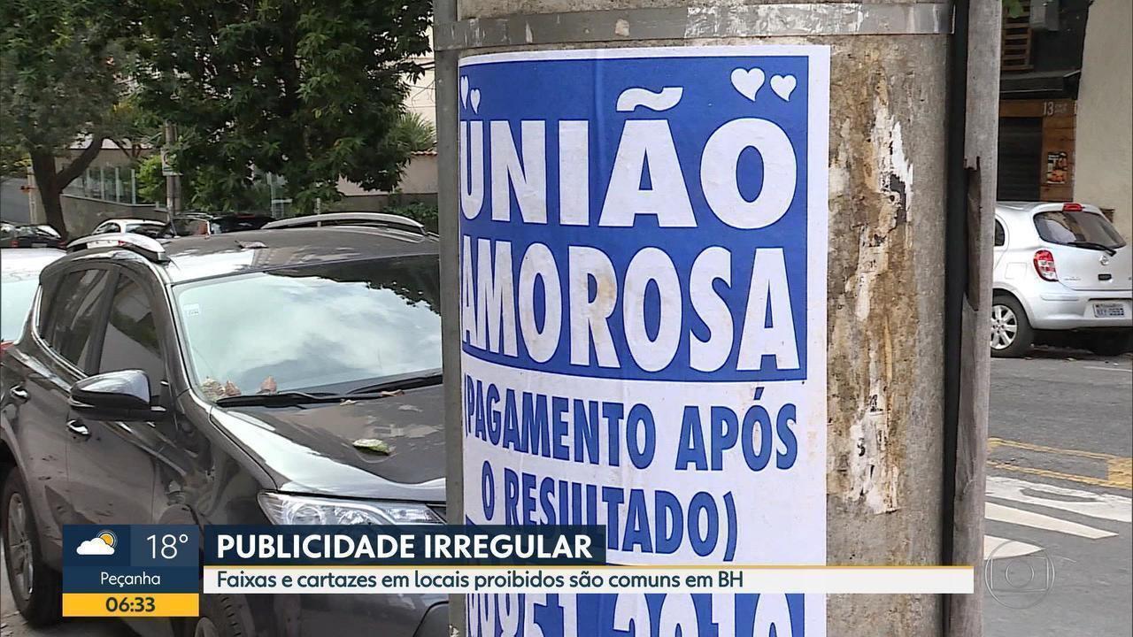 Faixas e cartazes em locais proibidos são comuns em Belo Horizonte