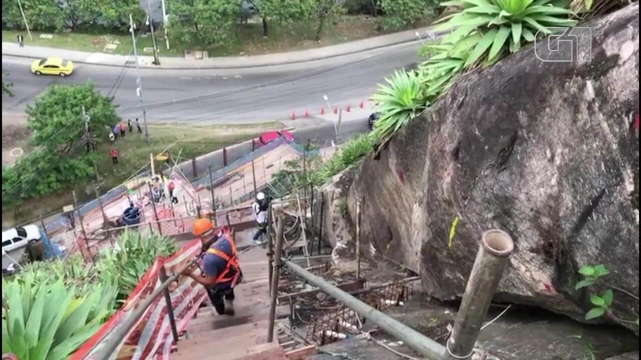 Geo-Rio descobre que pedra de 1,2 toneladas poderia desmoronar em morro na Barra