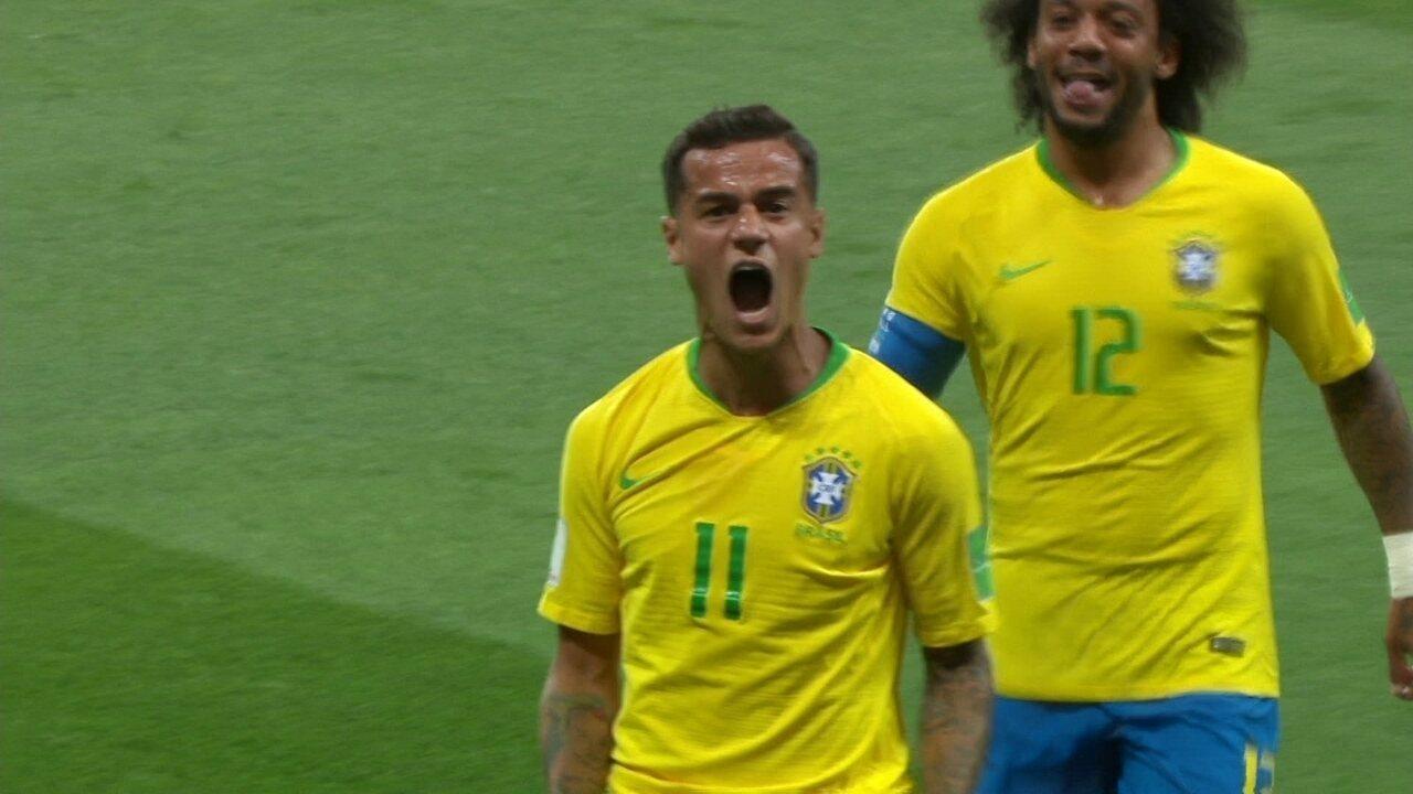 Golaço do Brasil! Philippe Coutinho acerta lindo chute e abre o placar aos 19 do 1º tempo