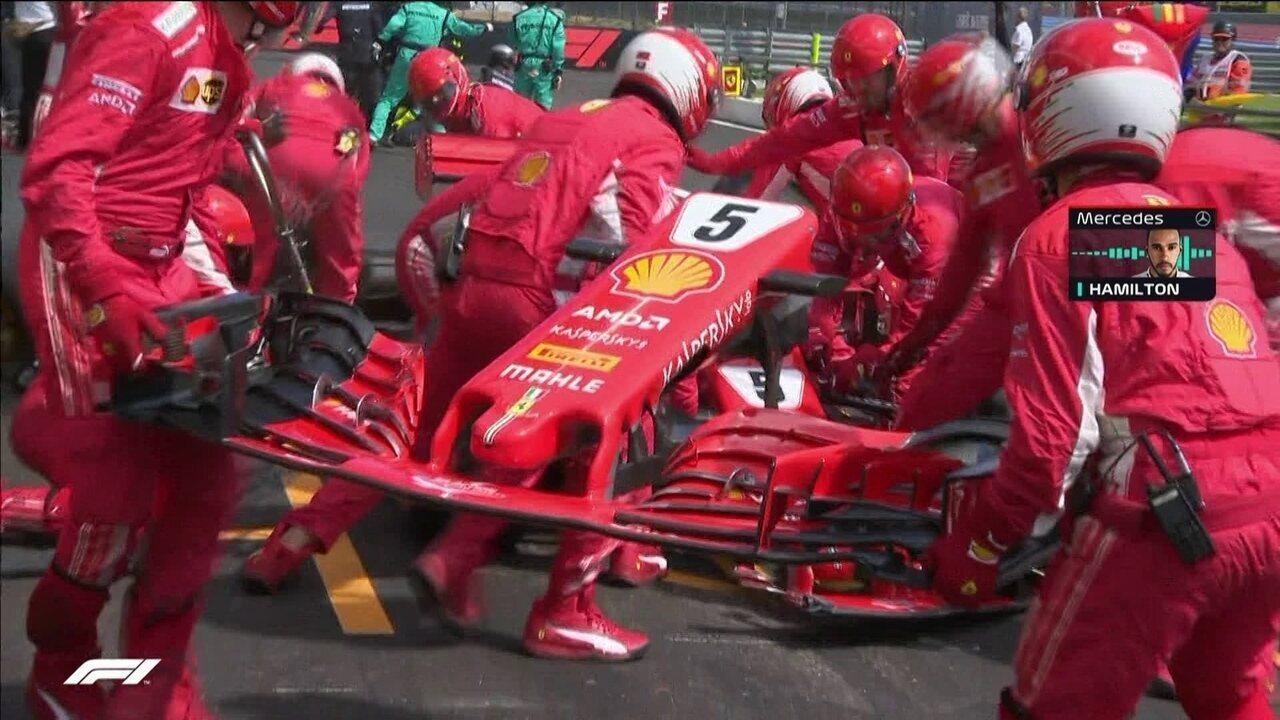 Devido ao choque na largada, Vettel e Bottas precisam ir para os boxes