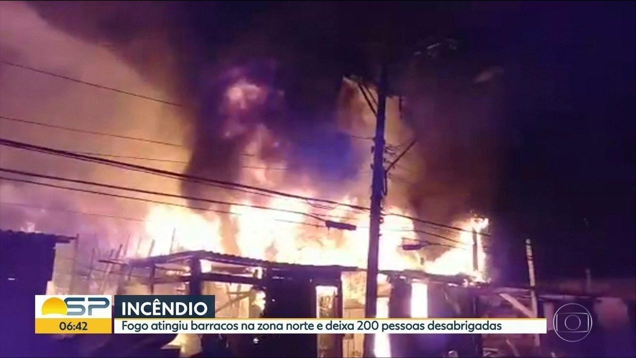Incêndio atinge favela da Zona Norte de SP