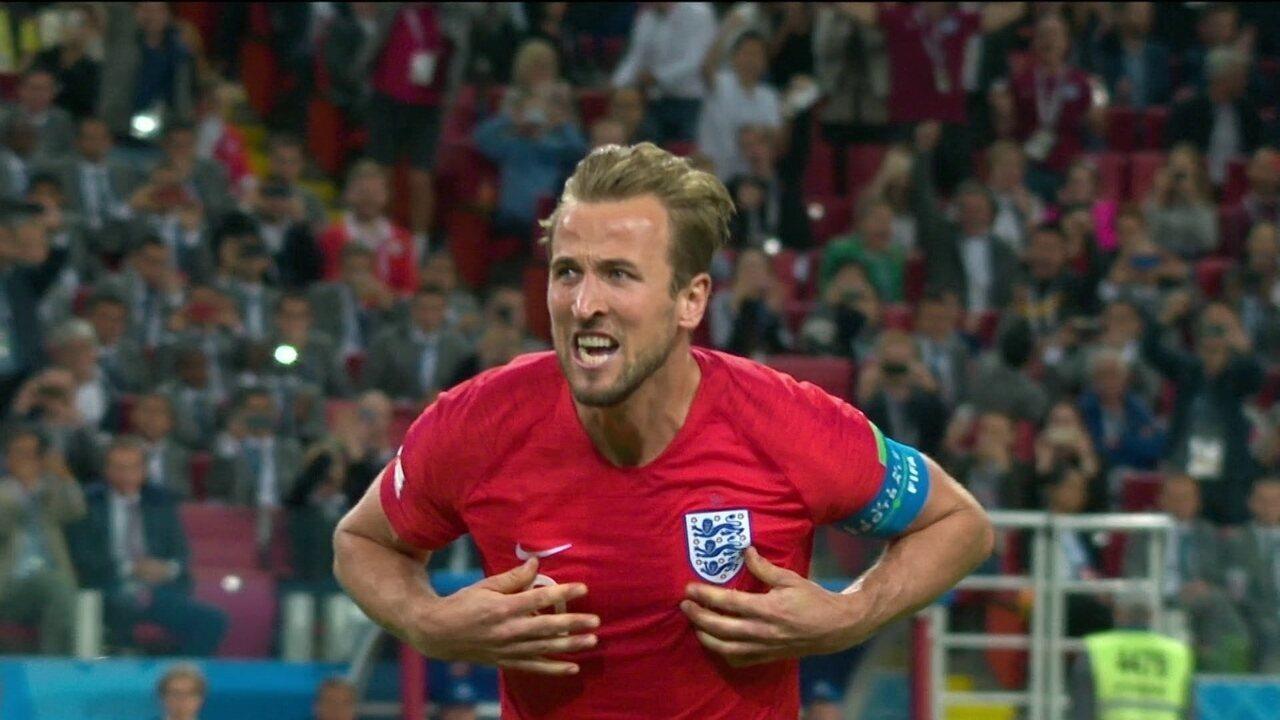 O último gol marcado por Kane na Copa, contra a Colômbia nas oitavas