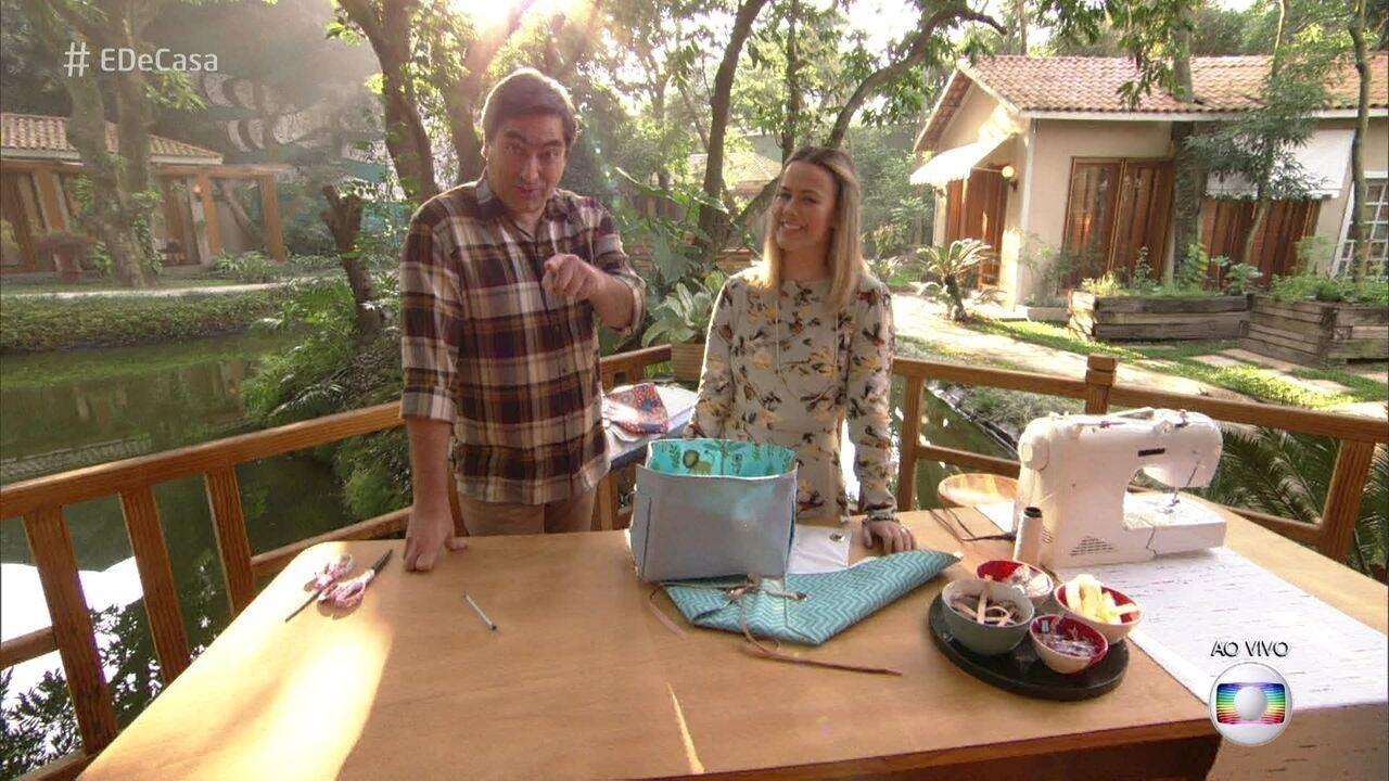 Artesã ensina a fazer cesto organizador dupla face