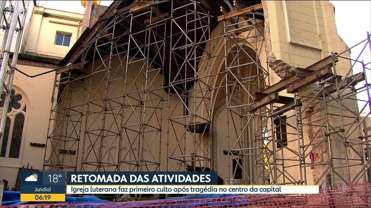 Igreja Luterana faz primeiro culto após desabamentode prédio no centro da capital