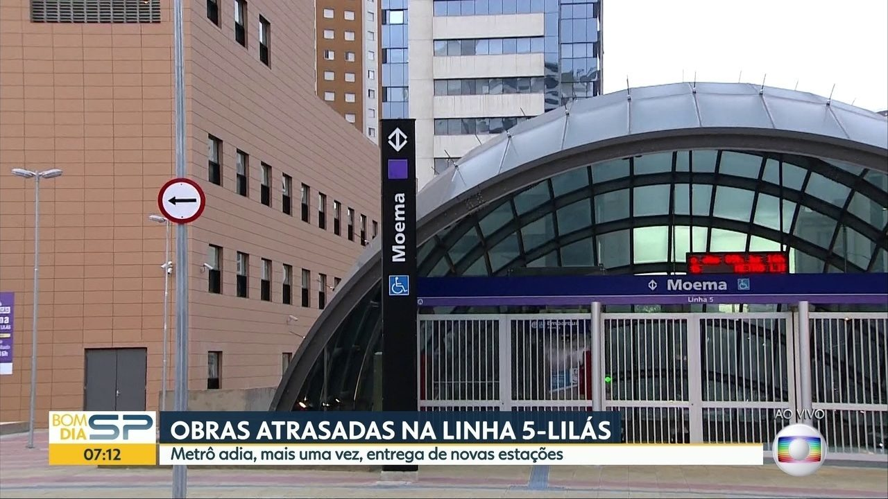 Metrô adia entrega de novas estações da linha 5-Lilás