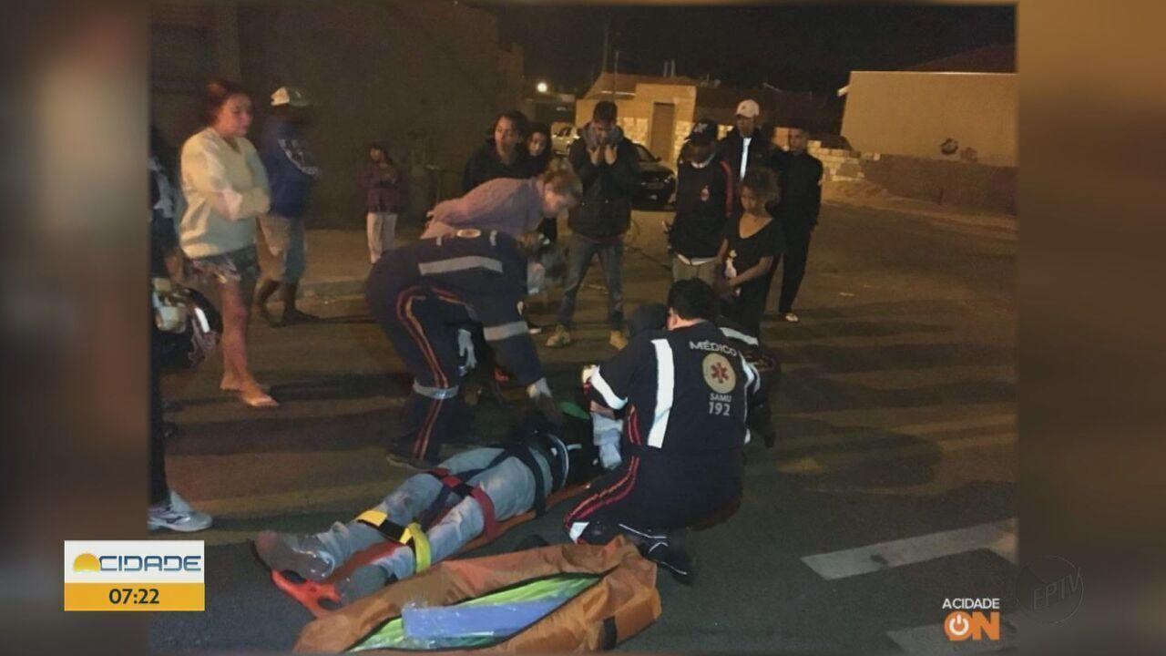 Motociclista fratura braço após desviar de ônibus e cair em São Carlos, SP