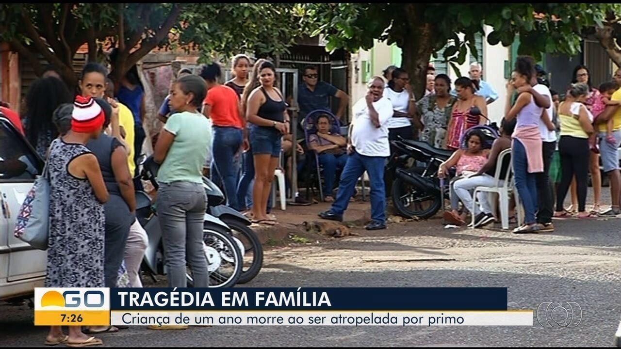 Bebê morre atropelado por primo surdo após confraternização de família, em Itumbiara