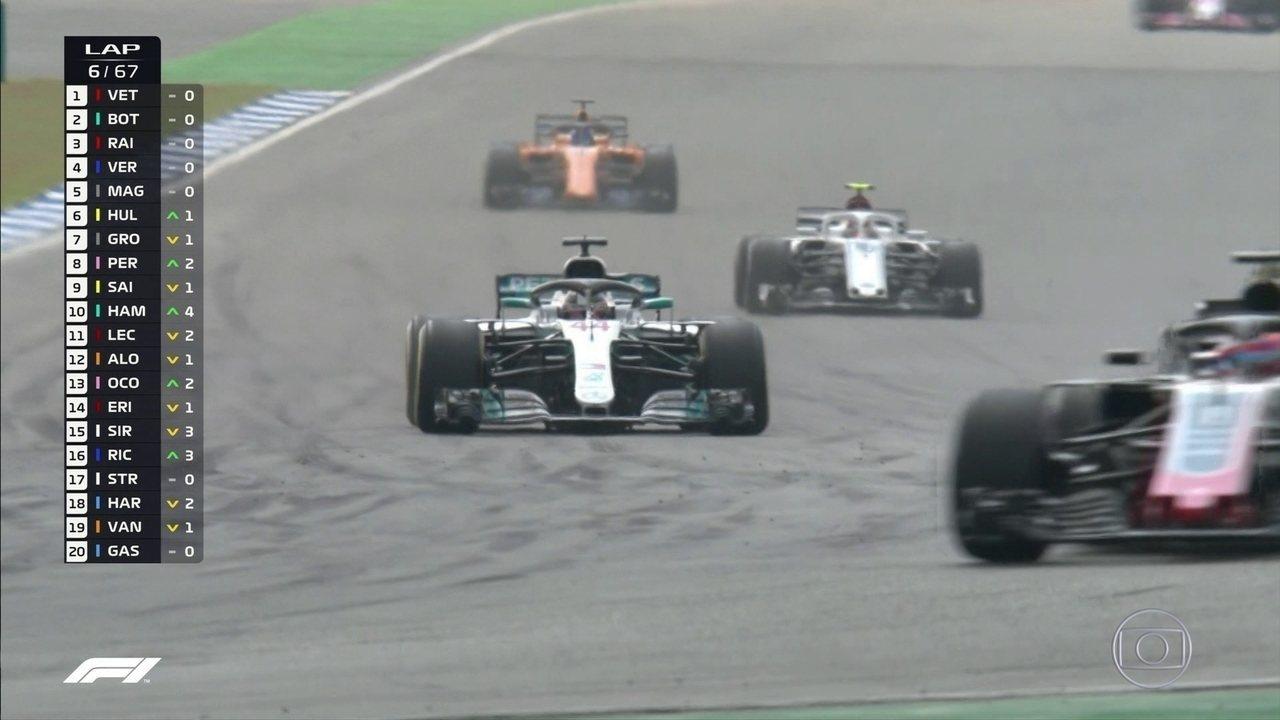 E lá vai o Hamilton! Inglês passa por Sainz e chega na 9ª posição no GP da Alemanha