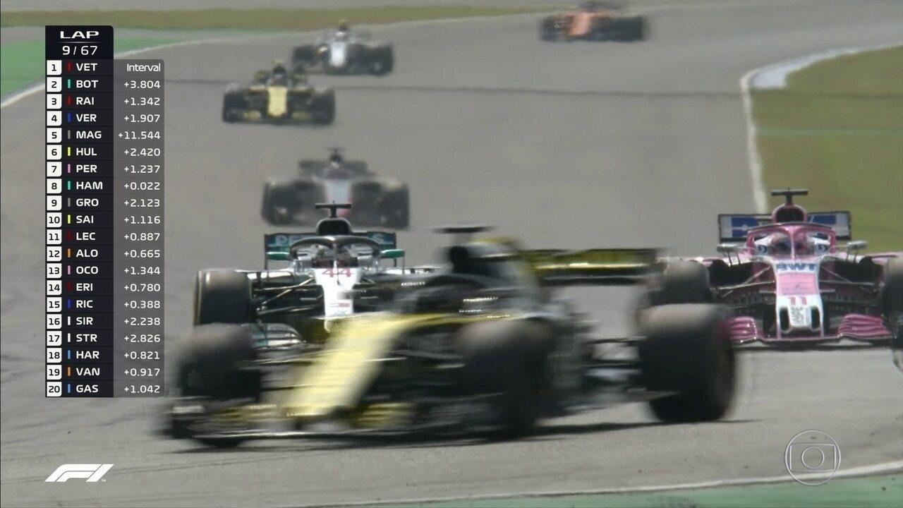 Hamilton agora passa por Perez e já está em 6º no GP da Alemanha