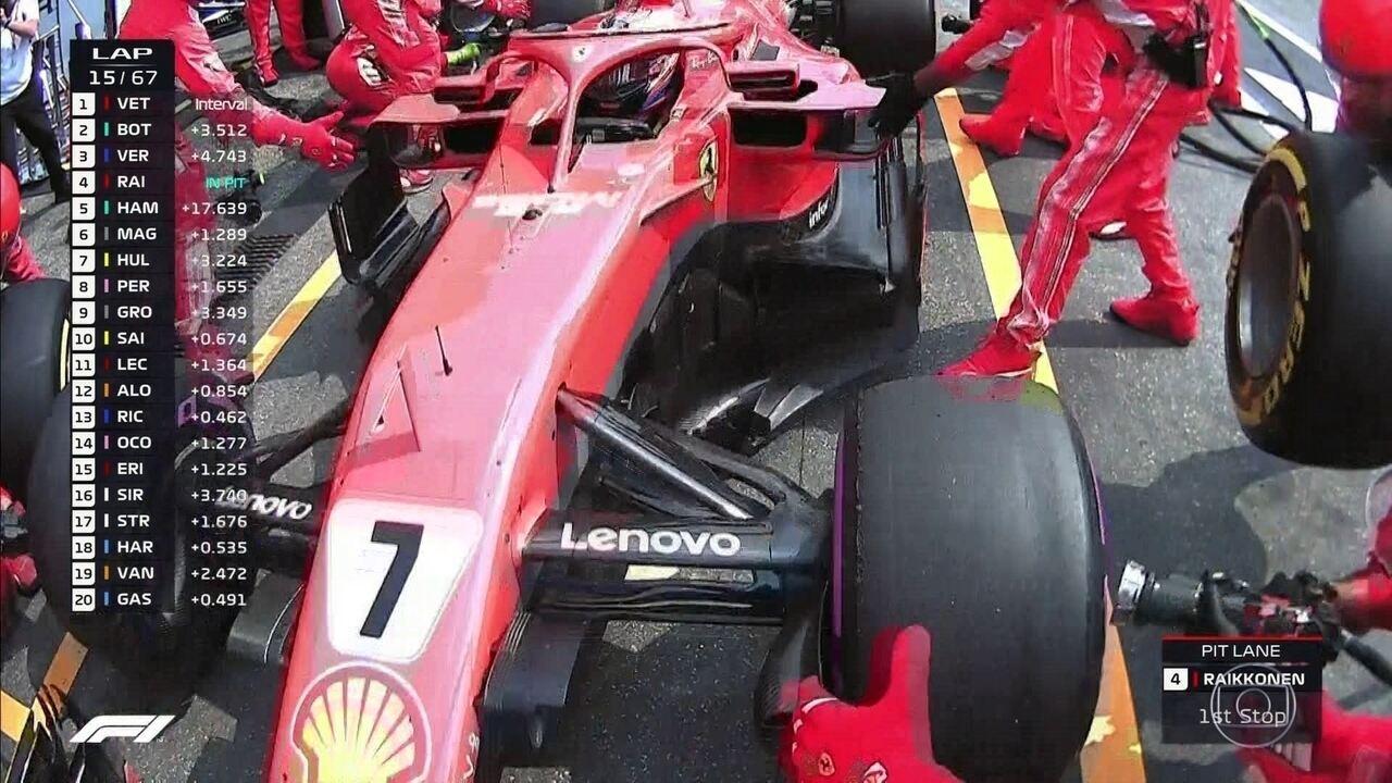 Raikkonen faz parada nos boxes durante o GP da Alemanha