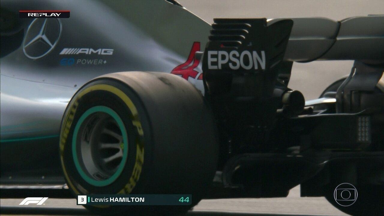 Pneus de Hamilton já demonstram claros sinais de desgaste durante GP da Alemanha