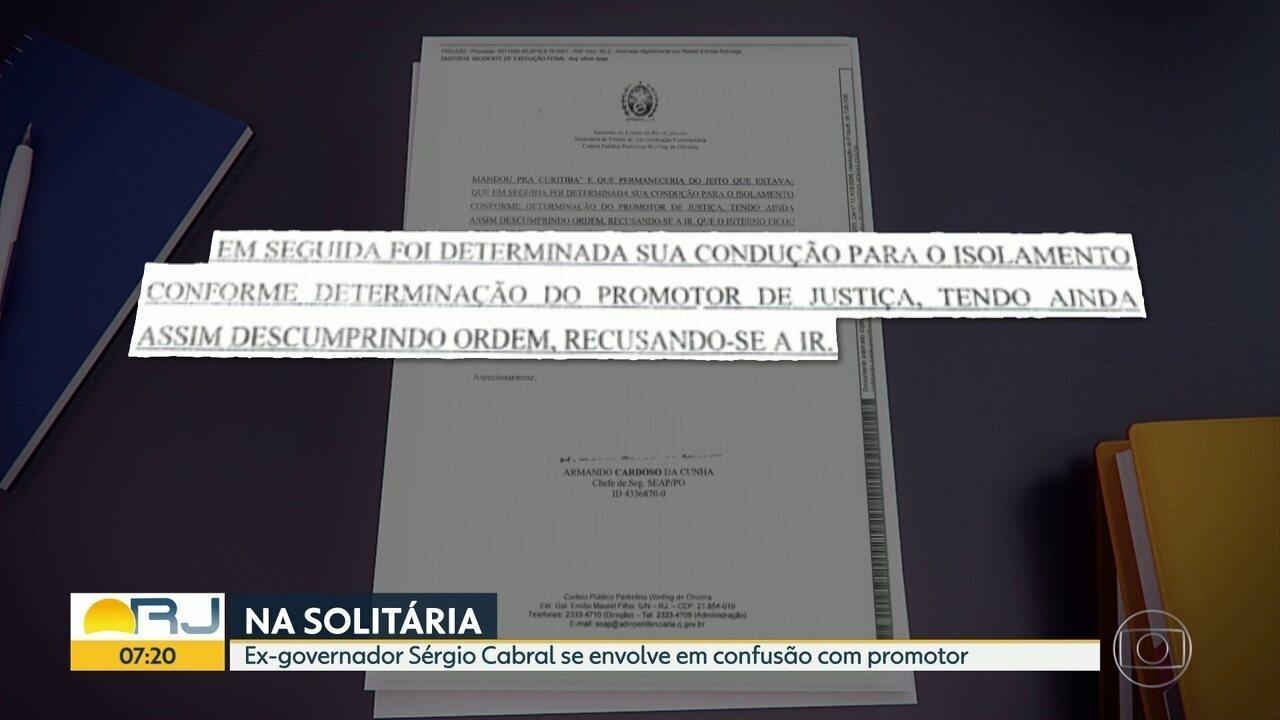 Sérgio Cabral vai parar na solitária depois de discutir com promotor