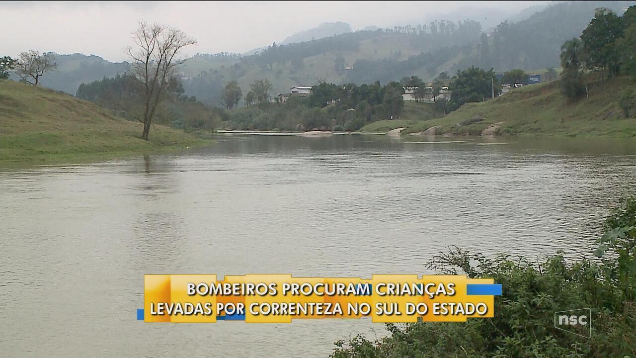 Bombeiros procuram por crianças levadas por correnteza de rio no Sul de SC