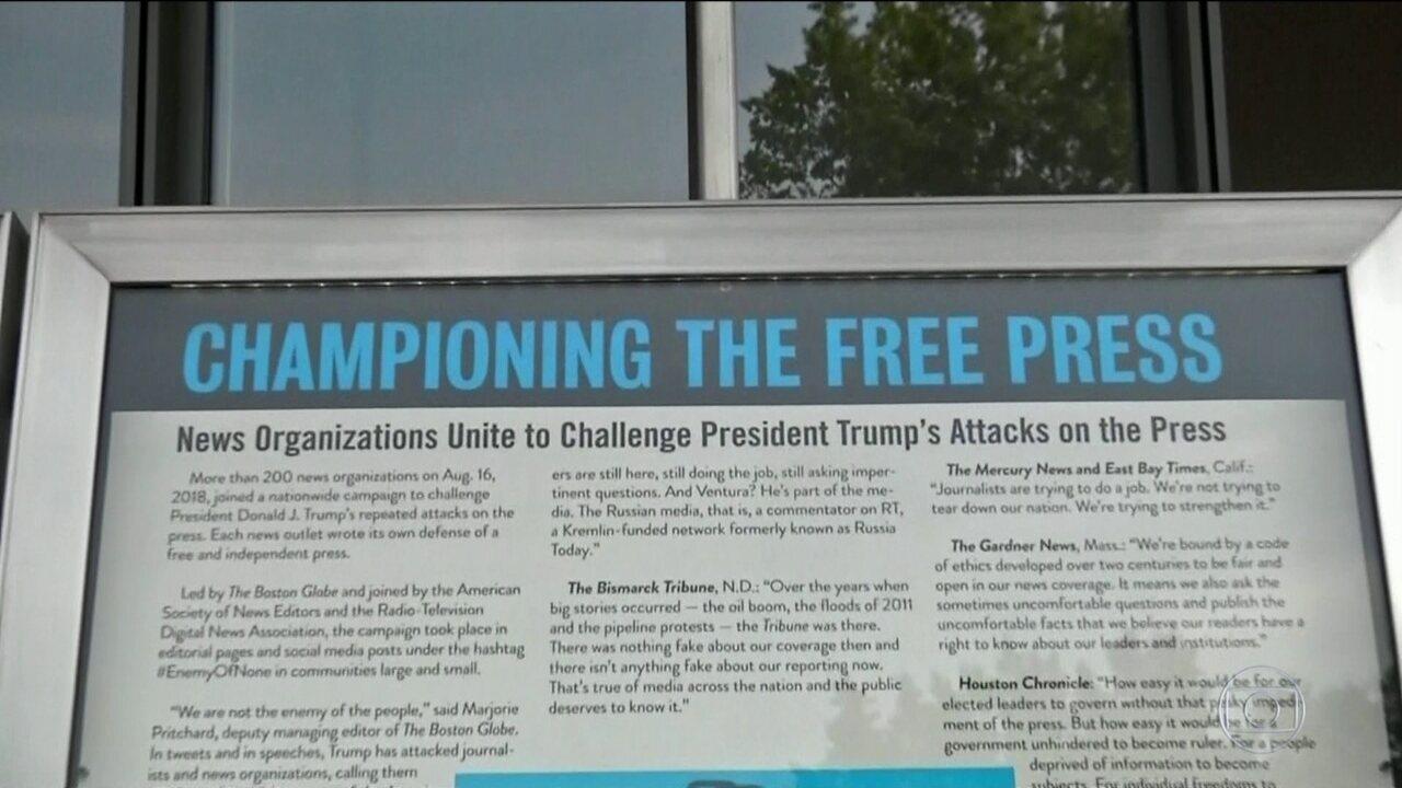 Mais 300 jornais americanos publicam editoriais defendendo a liberdade de imprensa