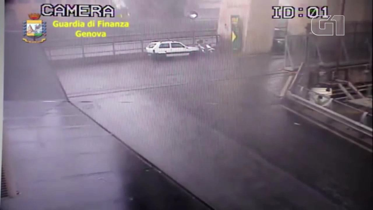 Câmera de segurança registra momento da queda de ponte em Gênova